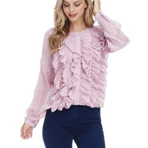 Tops - Romantic Rose Pink Ruffle Button Down Blouse